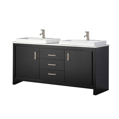 Pouliot Modern 60 Double Bathroom Vanity Set Base Finish: Espresso