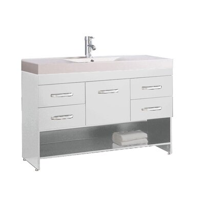 Preas Modern 48 Single Bathroom Vanity Set Base Finish: White