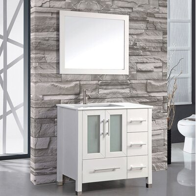 Nadeau 36 Single Sink Bathroom Vanity Set with Mirror Base Finish: White