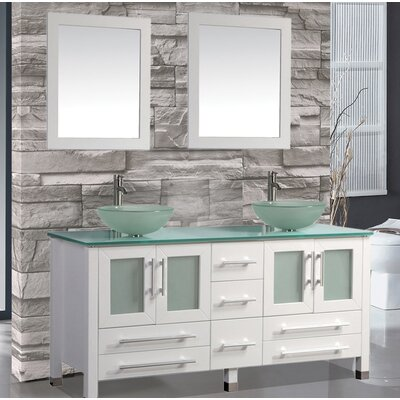 Prado 61 Double Bathroom Vanity Set with Mirrors Base Finish: White