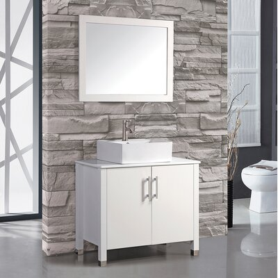 Laroche 36 Single Sink Bathroom Vanity Set with Mirror Base Finish: White