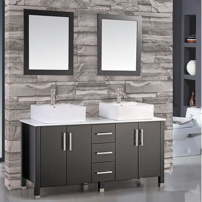 Laroche 60 Double Bathroom Vanity Set with Mirror Base Finish: Espresso