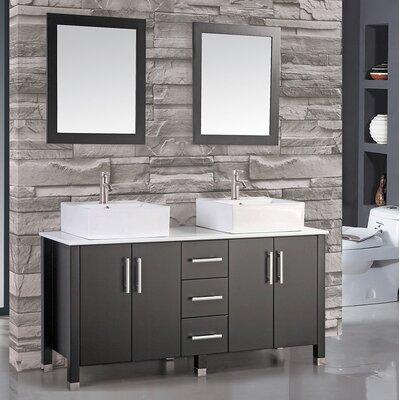 Laroche 71 Double Sink Bathroom Vanity Set with Mirror Base Finish: Espresso