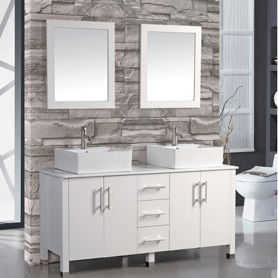 Laroche 71 Double Sink Bathroom Vanity Set with Mirror Base Finish: White