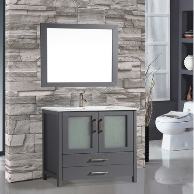 Larosa 36 Single Sink Bathroom Vanity Set with Mirror Base Finish: Gray