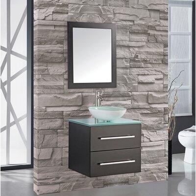 Prado Modern 36 Single Sink Bathroom Vanity Set with Mirror Base Finish: Espresso