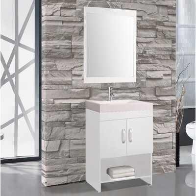 Prager 24 Single Sink Bathroom Vanity Set with Mirror Base Finish: White