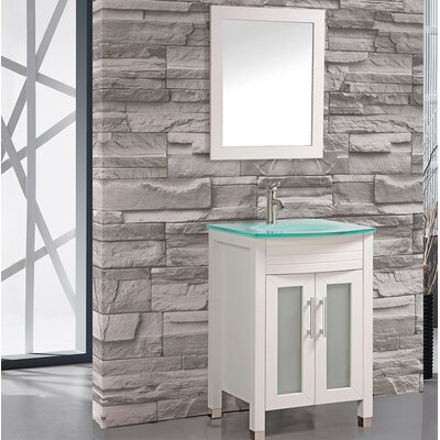 Prall 24 Single Sink Bathroom Vanity Set with Mirror Base Finish: White