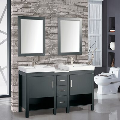 Chauncy 60 Wood Base Double Sink Bathroom Vanity Set with Mirror Base Finish: Espresso