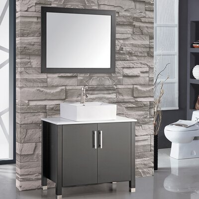 Laroche 36 Single Sink Bathroom Vanity Set with Mirror Base Finish: Espresso