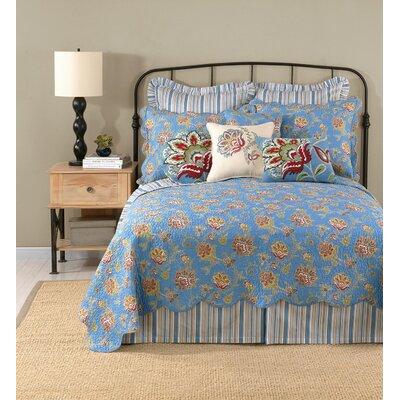 Jacobean Flower Linen Throw Pillow Color: Blue