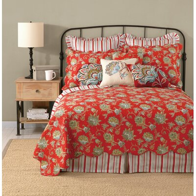 Jacobean Flower Linen Throw Pillow Color: Red