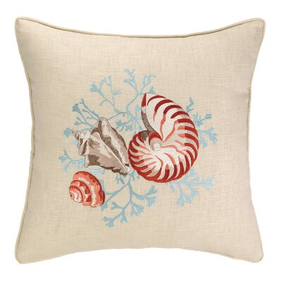 Sealife Nautilus Linen Throw Pillow
