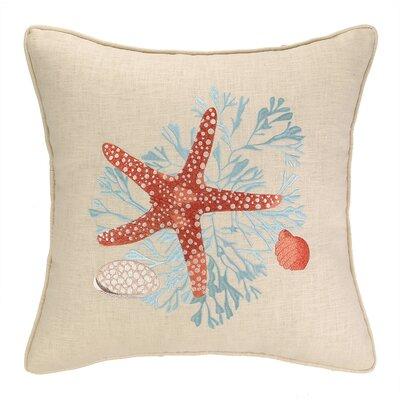 Sealife Coral Linen Throw Pillow