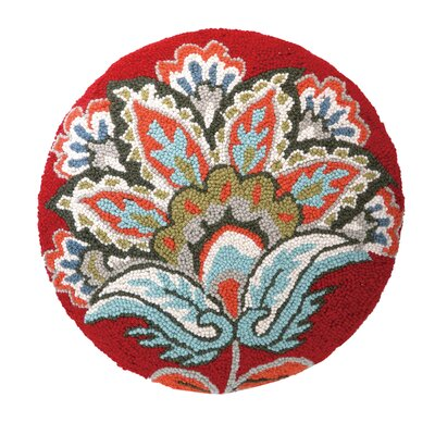 Jacobean Hook Wool Throw Pillow Color: Red