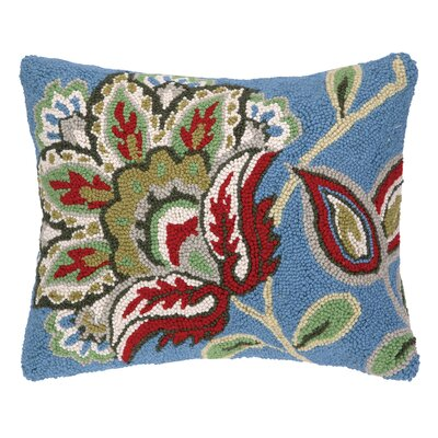 Jacobean Hook Wool Throw Pillow Color: Blue