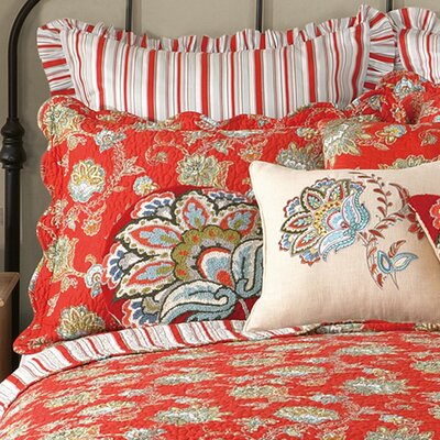 Jacobean Euro Sham Color: Red