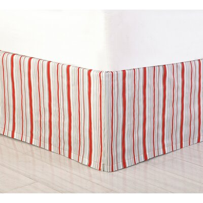 Jacobean Bed Skirt Size: Twin, Color: Red