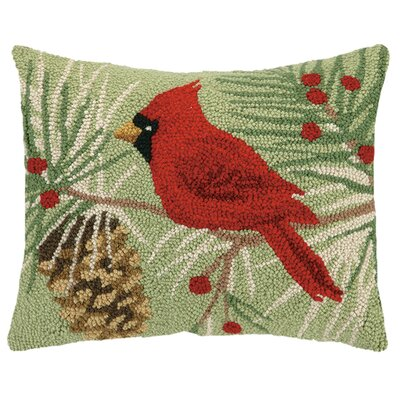 Winter Bird Hook Wool Throw Pillow