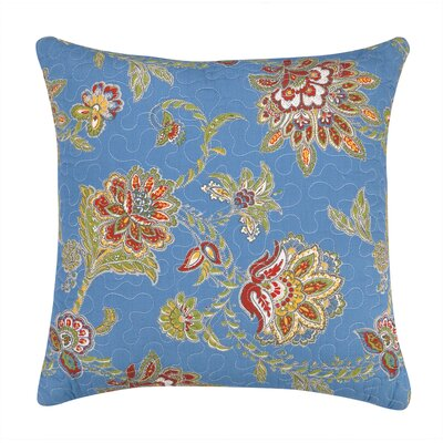 Jacobean Quilted Cotton Throw Pillow Color: Blue