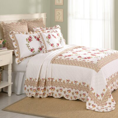 Luise Cotton Quilted Bedspread Size: Queen