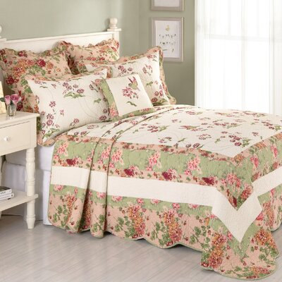 Jasmine Cotton Quilted Bedspread Size: King