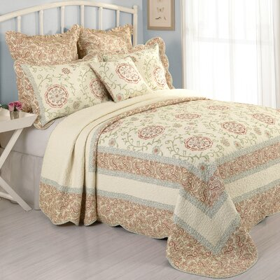 Rosaleen Cotton Quilted Bedspread Size: Queen