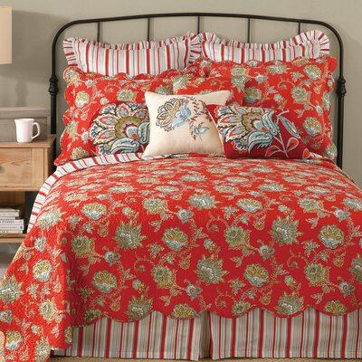 Jacobean Quilt Color: Red, Size: King
