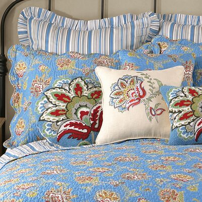 Jacobean Quilted Sham Color: Blue