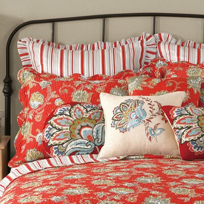 Jacobean Quilted Sham Color: Red