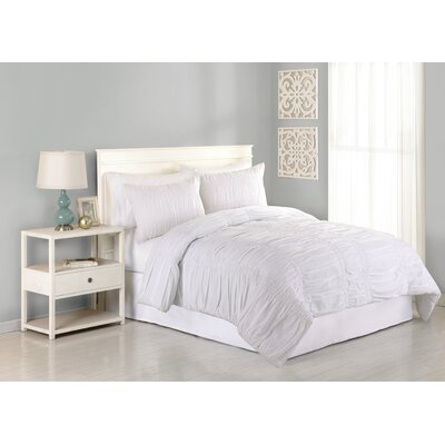 Heirloom Katarina 3 Piece Comforter Set Size: King, Color: White