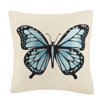 Vanderbilt Butterfly Embroidery Wool Throw Pillow