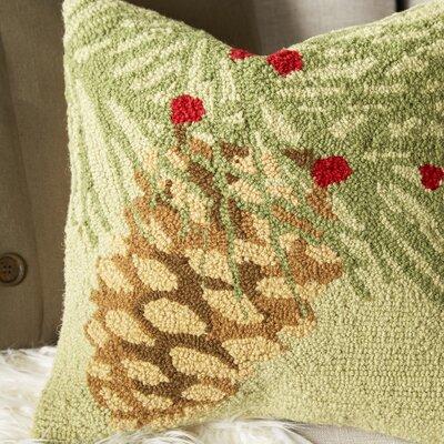 Winter Bird Pinecone Hook Wool Throw Pillow