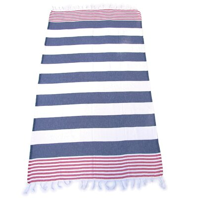 100% Turkish Cotton Pestemal Beach Towel Color: Indigo/Red