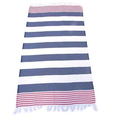 100% Turkish Cotton Pestemal Beach Towel Color: Indigo/Red