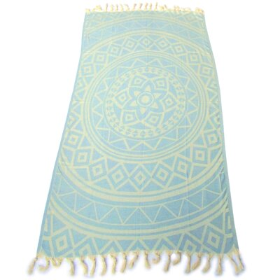 100% Turkish Jacquard Cotton Pestemal Beach Towel Color: Sky Blue