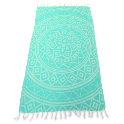 100% Turkish Jacquard Cotton Pestemal Beach Towel Color: Sea Green