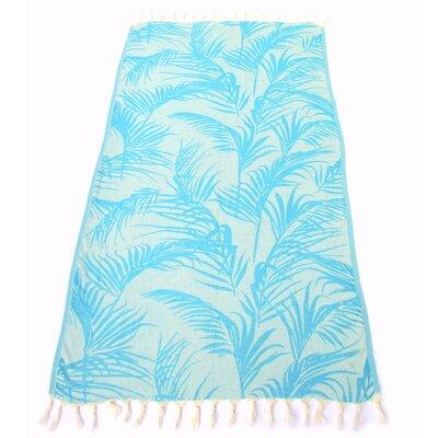 100% Turkish Jacquard Cotton Pestemal Beach Towel Color: Marine Blue