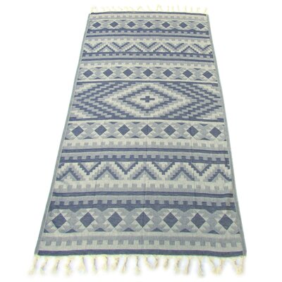 100% Turkish Jacquard Cotton Pestemal Beach Towel Color: Indigo