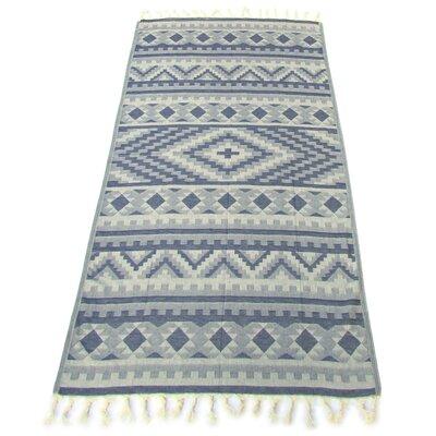 100% Turkish Jacquard Cotton Pestemal Beach Towel Color: Indigo