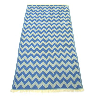100% Turkish Jacquard Cotton Pestemal Beach Towel Color: Navy Blue