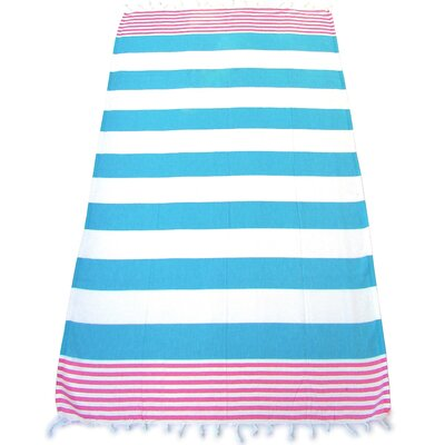 100% Turkish Cotton Pestemal Beach Towel Color: Turquoise/Pink