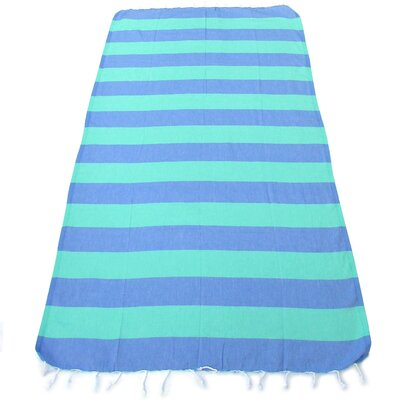 100% Turkish Cotton Pestemal Beach Towel Color: Blue/Green