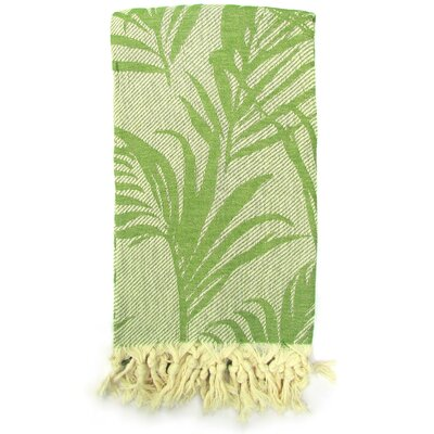 100% Turkish Jacquard Cotton Pestemal Beach Towel Color: Green