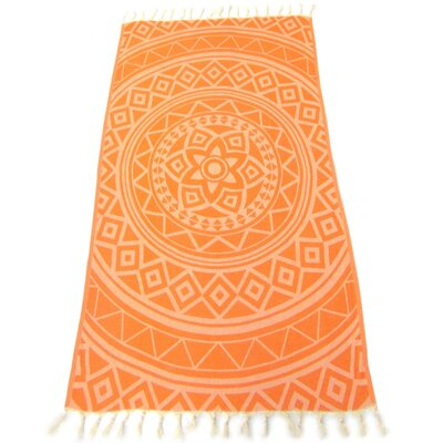 100% Turkish Jacquard Cotton Pestemal Beach Towel Color: Orange