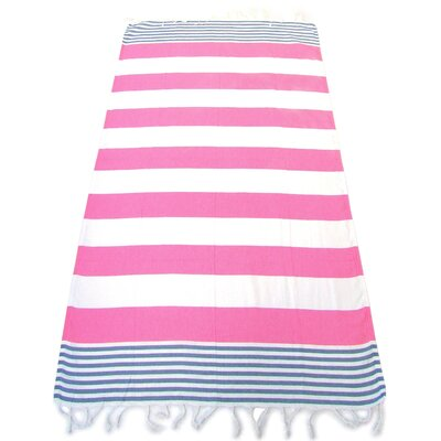 100% Turkish Cotton Pestemal Beach Towel Color: Pink/Blue