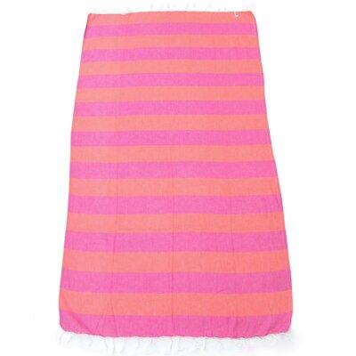 100% Turkish Cotton Pestemal Beach Towel Color: Orange/Pink