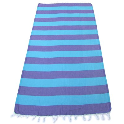 100% Turkish Cotton Pestemal Beach Towel Color: Purple/Blue