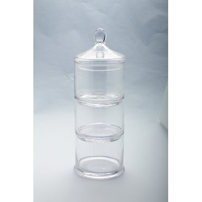 3 Part Canister Tower Apothecary Jar Size: 17 H x 6.5 W x 6.5 D