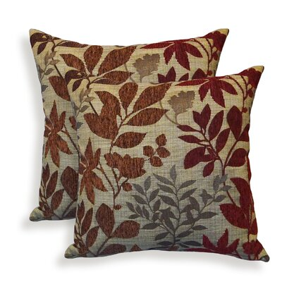 Bristol Chenille Jacquard Leaf Throw Pillow Color: Burgundy